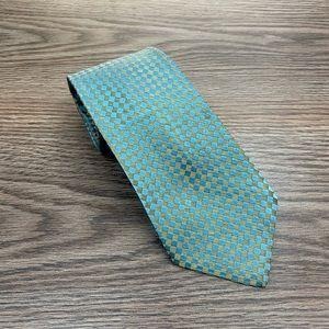 Christian Dior Blue & Gold Check Silk Tie